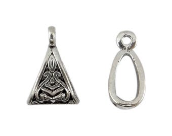 8 bails triangles in antique silver carved for bd017 pendant