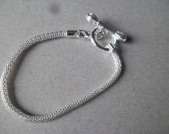 x 1 snake European 18 cm silver plated lobster clasp/toggle clasp bracelet