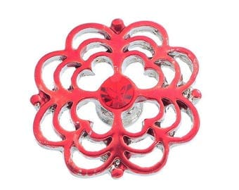 x 1 snap (for jewelry) 19 mm red/rhinestone enamel flower