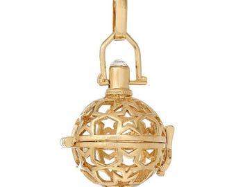 x 1 pendentif cage de Bali Bola Mexicain motif étoile pour bille d'Harmonie Bébé or rose 4,4 x 2,5 cm