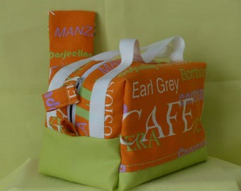"Vanity makeup bag or toiletry bag orange lunch has ""Tea or coffee"" and Apple green simili"