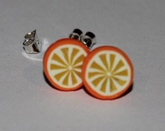 Orange Earrings / Orange Studs / Fruit Studs / Kawaii Orange Studs / Kawaii Citrus Orange Studs / Kawaii Fruit Earrings