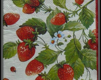 "napkin ""small strawberries and insects"""