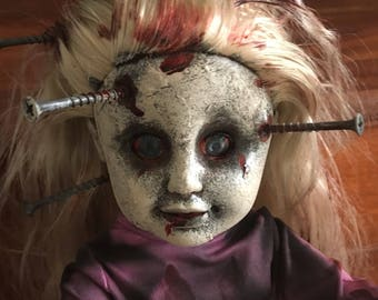 Shannon Creepy Scary OOAK Horror doll with real screws