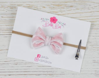 Baby Bow, Baby Headband, Light Pink Velvet Bow, Breakaway Bow