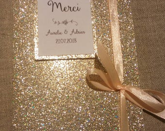 Glitter wedding invitation or thank you card