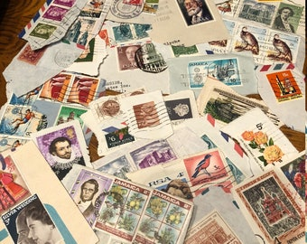 Worldwide used stamps on paper