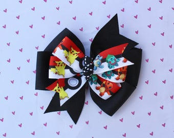 Pokemon Bow, Pokemon Ribbon, Boutique Bow, Custom Made Bows, Pinwheel Bow