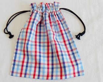 Small tote bag, games, chargers, batteries, games, marbles, toy parts, taste, cotton blue gray red Plaid