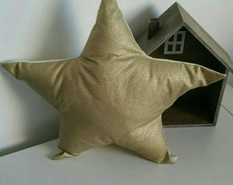 Coated cotton and gold Christmas star pillow with gold dots