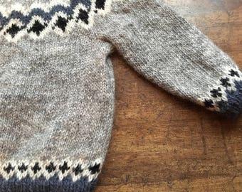 Handmade Icelandic pure wool cute Children's jumper size age 4