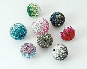 bead faceted shamballa gradient Pink Rhinestone 10mm.