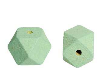 PBois41 - Set of 3 wooden Cypress faceted polygon shaped beads