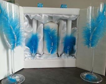 """Flûtes à champagne et bougies décorées """"Turquoise"""" (plumes, perles) / Handmade Wedding Champaign glasses and candels"""