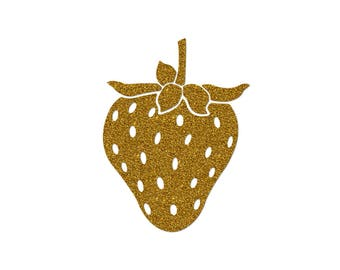 Personalized Strawberry pattern in flex fusible silver glitter - iron-on Applique