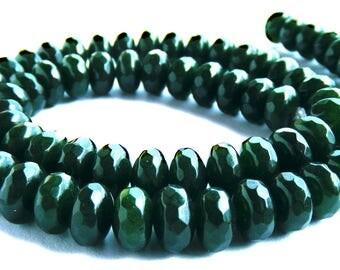 10 jades Abacus à facette de 8x5 mm perles pierre vert sapin.