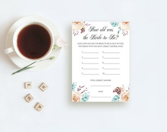 How Old Was the Bride Game Floral Printable Bridal Shower Game DIY Shower Game Sign and Cards Guess The Age Bachelorette Party Game Download