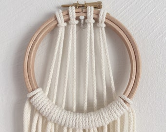 Small cream macrame dreamcatcher, home decor macrame wood and metal