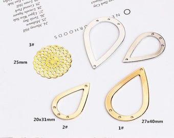 10PCS, Waterdrop Shaped Charms, Flower Charm, Bracelet Charm, Earring Charm, Jewelry Supplies, New Charm, Metal Charm