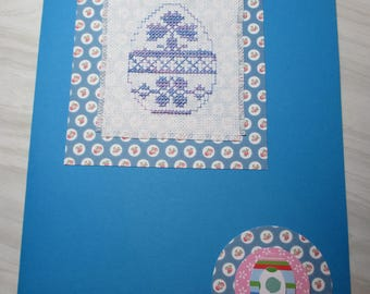 "Large embroidered ""Blue egg"" Easter card"