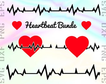 Heartbeat SVG Files - ECG Clipart - Heartbeat Cricut Files - Heartbeat Dxf Files - Heartbeat Cut Files - Heartbeat Png - Svg, Dxf, Png, Eps