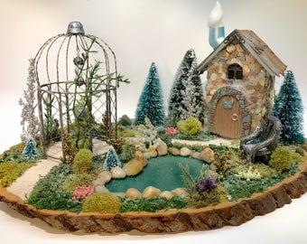 Christmas Fairy Garden with Gazebo and Shell House