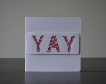 Yay, Pink, Glitter, Card, Celebration, Handmade Card