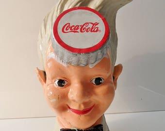 Vintage Art Deco Vintage COCA COLA Sprite BOY cast iron piggy bank advertising item