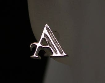 925 Sterling Silver Alphabet Letter A Initial Stud Earrings