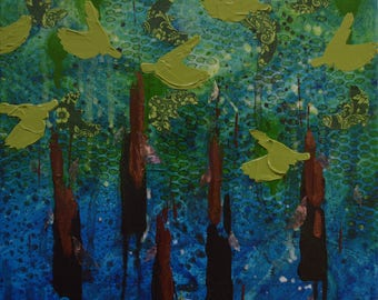Nuthatch II mixed media painting