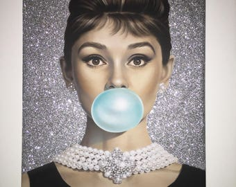 Stunning Customised Audrey hepburn Glitter Canvas A4