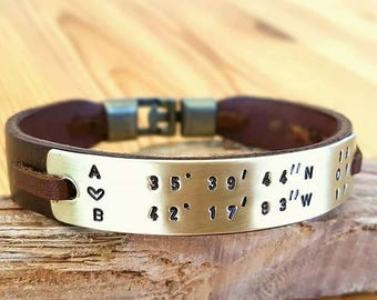 Personalized gift for Husband Gift for Men Leather Coordinate Customized Gift for Men Leather Bracelet Leather