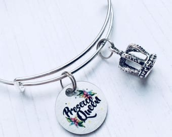 Prosecco Gift, Prosecco Queen Charm Bracelet, Prosecco Quotes Bangle, Love Prosecco, Gift For Wine Lover, Crown Bracelet, WORLDWIDE SHIPPING