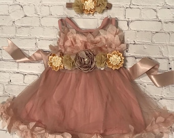 Pink and Gold Baby Girl First Birthday Dress, Girls Pink Gold First Birthday Outfit, Birthday Headband Baby, Baby Romper, Cake Smash Outfit