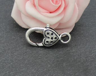 4 lobster heart clasp in antique silver AP153
