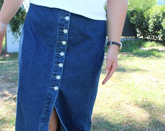 y2k Button Down Denim Split Skirt