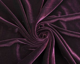 Grace EGGPLANT Stretch Velvet Fabric by the Yard, Half Yard, Bolt and Wholesale - SKU 5000