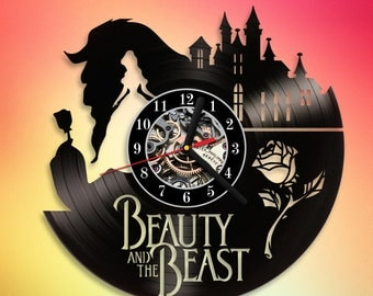 Beauty And The Beast Disney Princess Movie Art Decor Vinyl Record Wall Clock Gift for Kids Disney Vintage Christmas gift Birthday gift