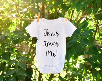 Jesus Loves me, Jesus loves me onesie. Christian apparel, religious baby outfit, baby shower gift. Onesie for baby, religious onesie