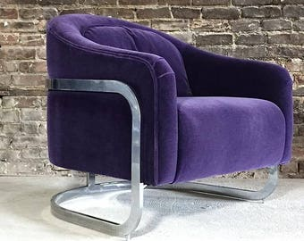 Milo Baughman Vintage Mohair Chrome Cantilivered Lounge Chair