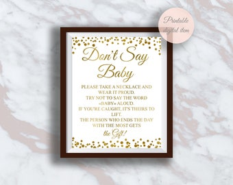 Donu0027t Say Baby Game, Necklace Game, Funny Baby Shower Games, Gold