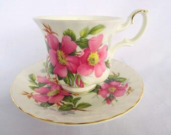 Vintage Royal Albert, Bone China England, 'Prairie Rose' porcelain cup and saucer