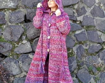 knit long coat, knit coat, hooded cardigan, long cardigan, knit cardigan, knit long cardigan, hooded coat, bulky, bohemain, ready to ship