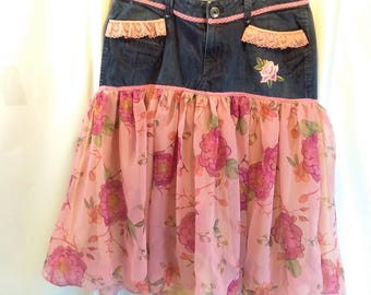 Upcycled Recycled Skirt Denim Jeans to Skirt Refashion Altered Couture Reworked Fashion Pink on Pink Flowers Size 12P SKRT3-04