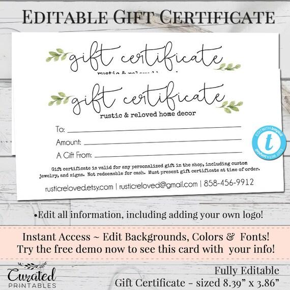 Gift certificate voucher printable gift cert editable gift gift certificate voucher printable gift cert editable gift certificate instant download business templates shop voucher printable yadclub Images