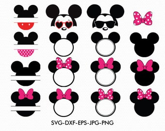 Mickey Svg Minnie Ears Monogram Frame, Minnie Bow Disney Monogram, svg dxf for Silhouette Cricut,  Svg Dxf Png files designs