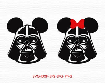 Mickey Minnie Ears darth vader star wars svg, Minnie Bow Disney Monogram, svg dxf for Silhouette Cricut,  Svg Dxf Png files designs