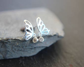 Butterfly earrings in sterling silver also for children