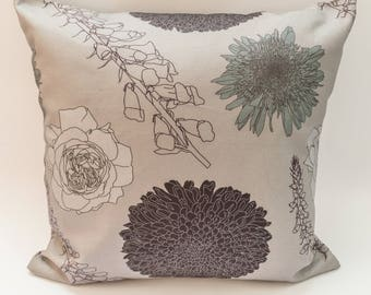 Modern Floral Cushion Cover Digitally Printed in Foxgloves and Chrysanthemums Pink Pattern Made from 100% Cotton