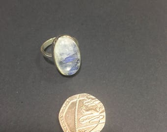 Sterling Silver Rainbow Moonstone Ring Daisy Made